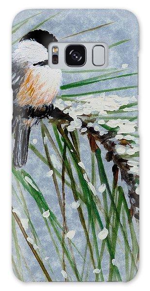 Snow Pine Chickadee Detail Print Bird 1 Galaxy Case