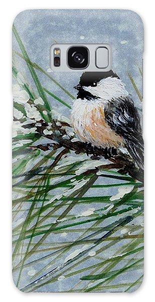 Snow Pine Chickadee Detail Print Bird 2 Galaxy Case