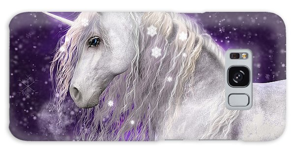 Snow Unicorn With Purple Background Galaxy Case