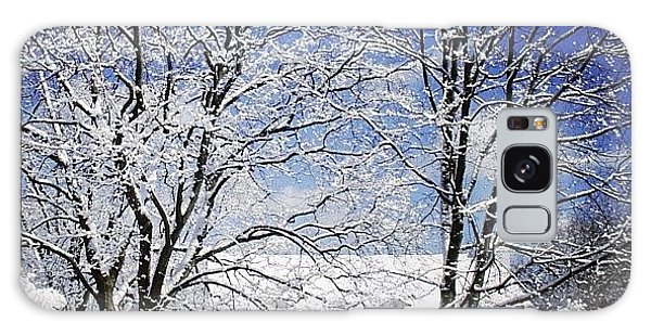 #snow #winter #house #home #trees #tree Galaxy Case by Jill Battaglia