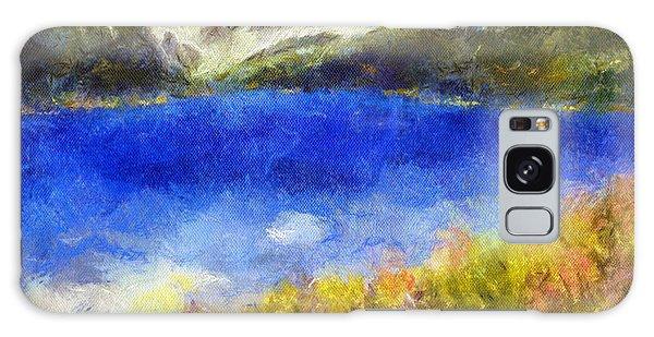 Snowcapped Blue Lake Galaxy Case