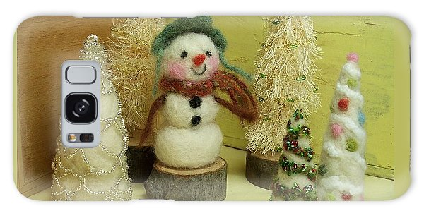 Snowman And Trees Holiday Galaxy Case
