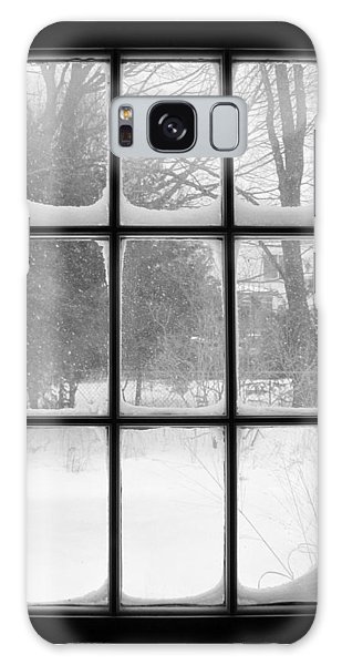 Snowstorm Outside The Windowpanes Galaxy Case