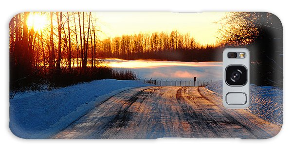 Snowy Anchorage Sunset Galaxy Case by Cynthia Lagoudakis