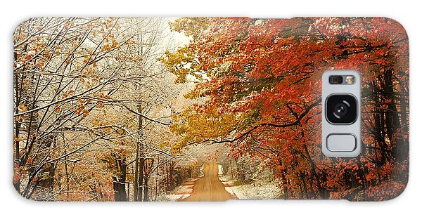 Snowy Autumn Road Galaxy Case