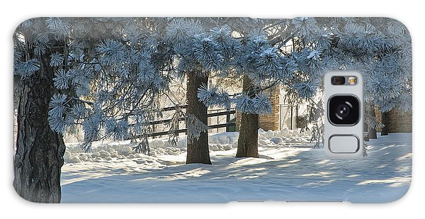 Snowy Blue Pines Galaxy Case