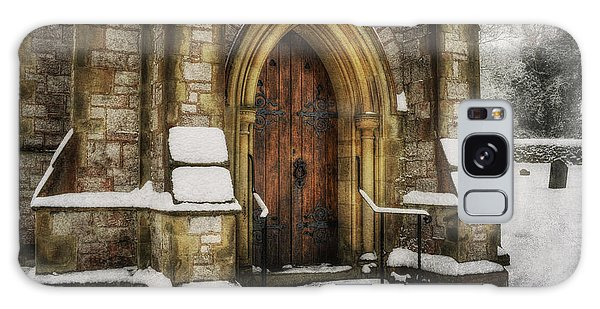 Snowy Church Door Galaxy Case