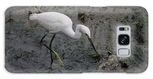 Snowy Egret Feeding Galaxy Case