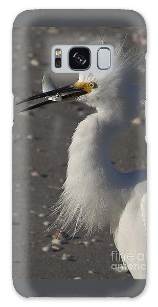 Snowy Egret Fishing Galaxy Case