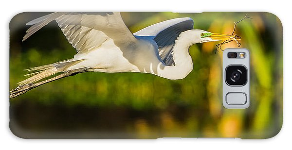 Snowy Egret Flying With A Branch Galaxy Case