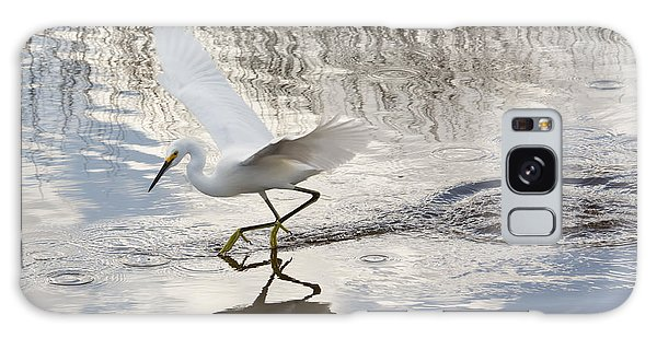 Snowy Egret Gliding Across The Water Galaxy Case