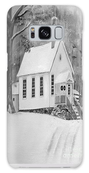 Snowy Gates Chapel -white Church - Portrait View Galaxy Case