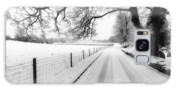 Fence Post Galaxy Case - Snowy Lane by Adrian Evans