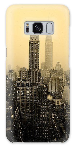 Snowy New York Skyline Galaxy Case