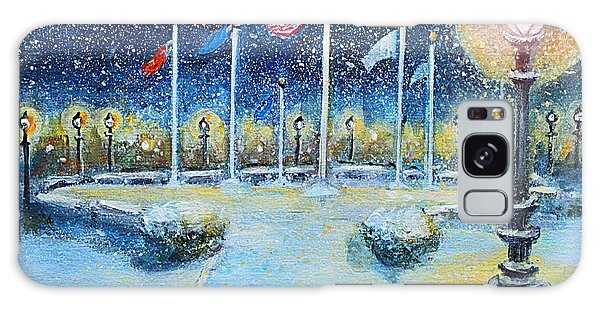 Snowy Night At The Circle Of Remembrance Galaxy Case