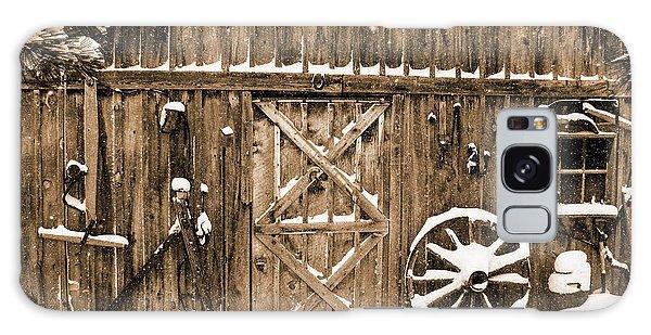 Snowy Old Barn Galaxy Case
