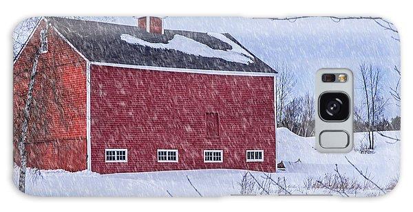 Snowy Red Barn Galaxy Case