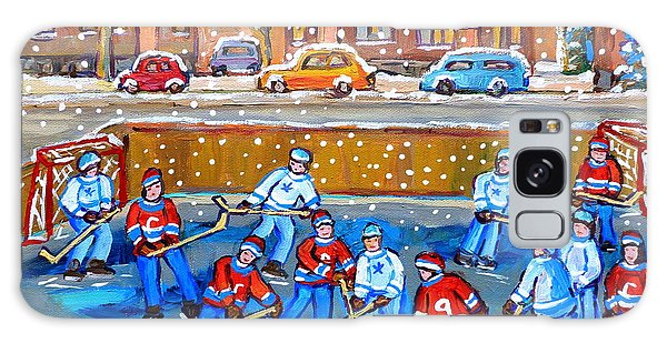 Snowy Rink Hockey Game Montreal Memories Winter Street Scene Painting Carole Spandau Galaxy Case