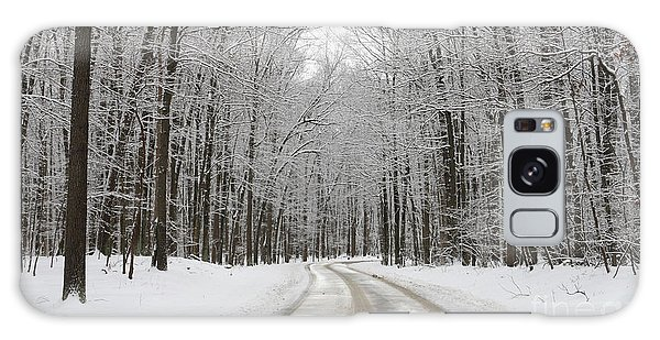 Snowy Road In Oak Openings 7058 Galaxy Case