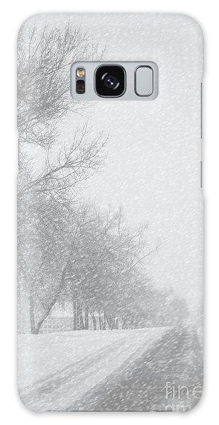 Snowy Rural Road Galaxy Case by Birgit Tyrrell