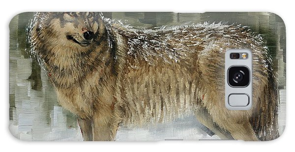 Snowy Wolf Galaxy Case by Margaret Stockdale