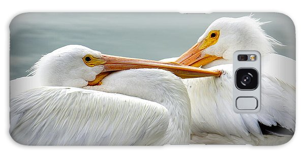 Snuggly Pelicans Galaxy Case by Laurie Perry