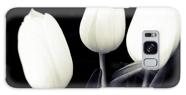 Soft And Bright White Tulips Black Background Galaxy Case