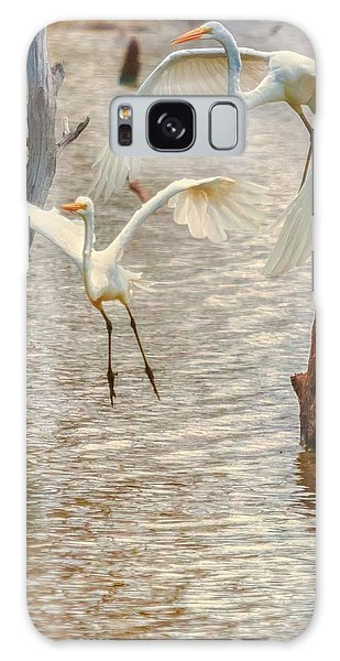 Soft Landing Two Egrets Galaxy Case
