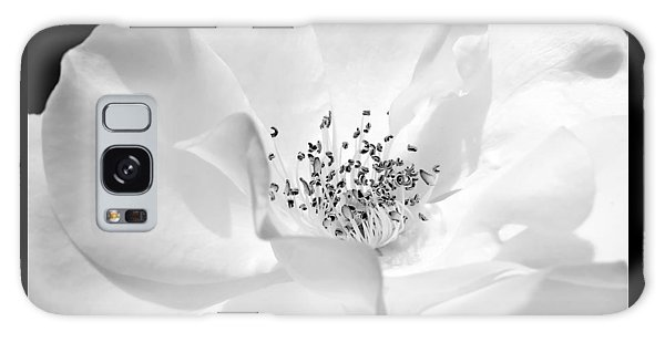 Marie Galaxy Case - Soft Petal Rose In Black And White by Jennie Marie Schell