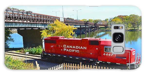 Solo Red Canadian Pacific Engine Along Rock River In Rockford Galaxy Case