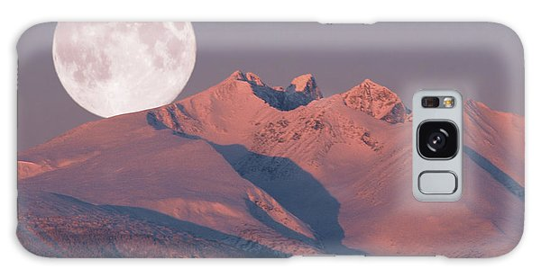 Solstice Sunrise Alpenglow Full Moon Setting Galaxy Case