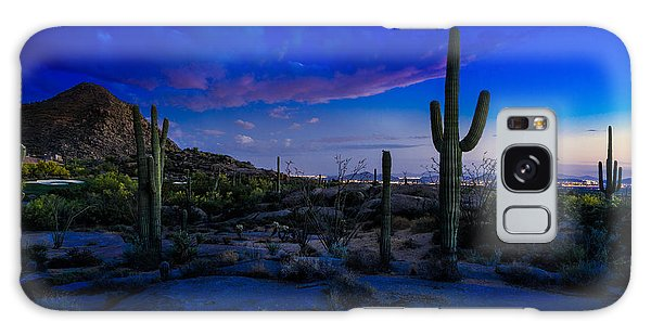 Desert Sunset Galaxy S8 Case - Sonoran Desert Saguaro Cactus by Scott McGuire
