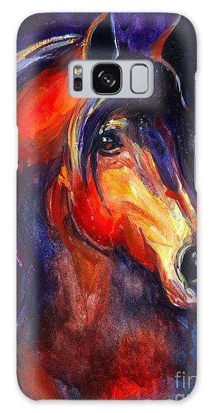 Watercolor Pet Portraits Galaxy Case - Soulful Horse Painting by Svetlana Novikova