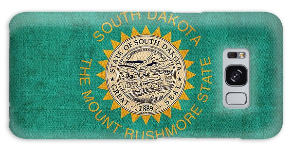 South Dakota State Flag Art On Worn Canvas Galaxy Case by Design Turnpike