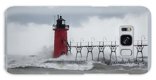 South Haven Pier Light In A Storm Galaxy Case