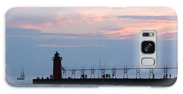 South Haven Sunset With Sailboat Galaxy Case by Bill Woodstock