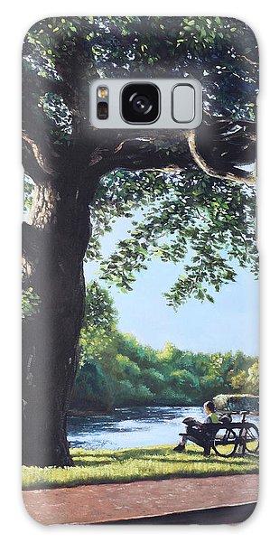 Southampton Riverside Park Oak Tree With Cyclist Galaxy Case by Martin Davey