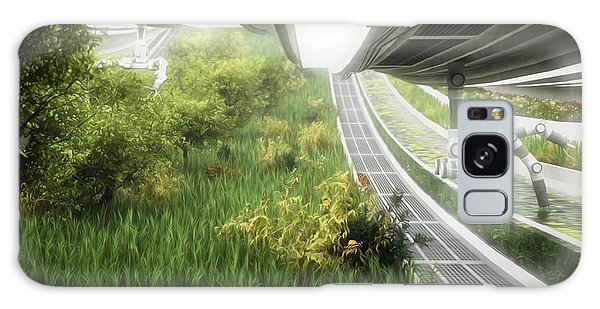 Galaxy Case featuring the digital art Space Colony Farm by Bryan Versteeg