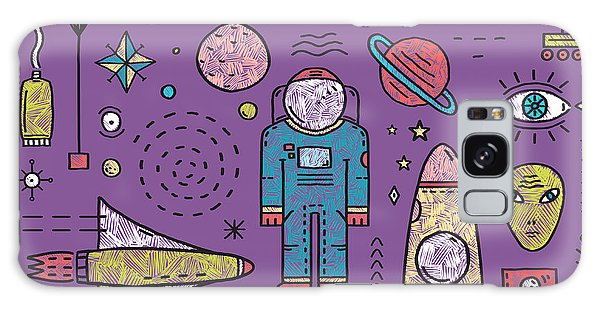 Spaceship Galaxy Case - Space Planets Stars Cosmonaut Design by Popmarleo