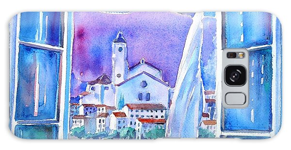 Spanish Window In Cadaques And The Church Of Santa Maria Galaxy Case by Trudi Doyle