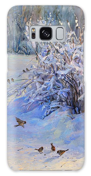 Sparrow On Snow Galaxy Case