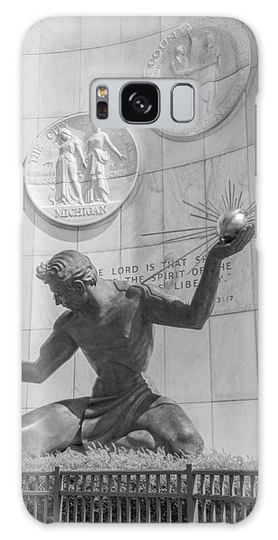Spirit Of Detroit Black And White  Galaxy Case by John McGraw