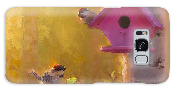 Chickadee Galaxy S8 Case - Spring Chickadees 1 - Birdhouse And Birch Forest by Karen Whitworth