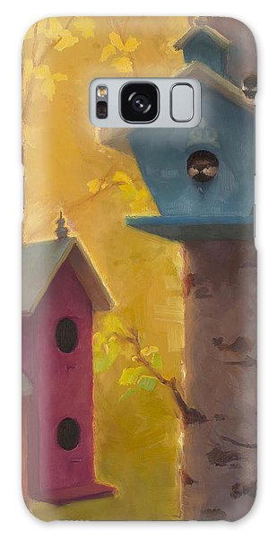 Spring Chickadees 2 - Birdhouse And Birch Forest Galaxy Case