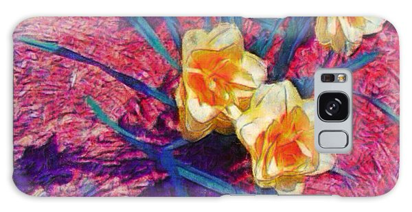 Spring Daffodils On Red - Square Galaxy Case