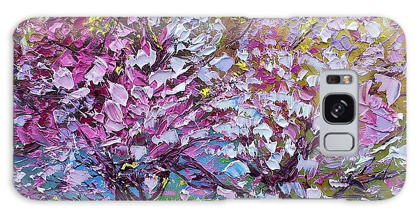 Spring Painting Of Pink Flowers On Magnolia Tree Fine Art By Ekaterina Chernova Galaxy Case
