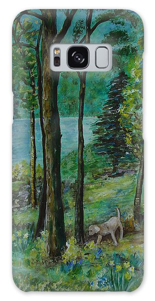 Spring Woodland With Dog - Painting Galaxy Case