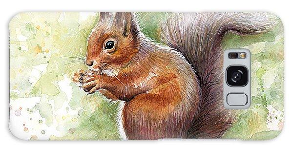 Squirrel Watercolor Art Galaxy Case by Olga Shvartsur