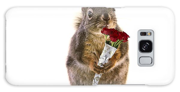 Squirrel With A Dozen Red Roses Galaxy Case by Peggy Collins