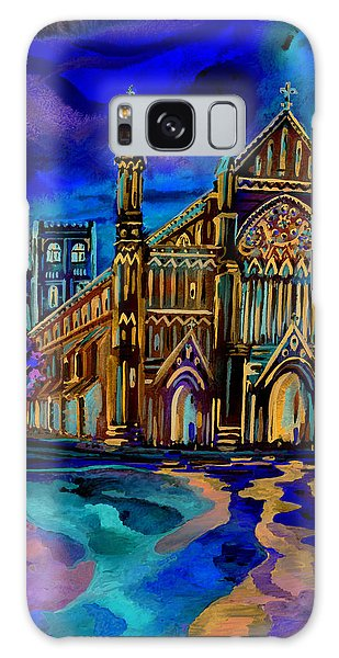 St Albans Abbey - Night View Galaxy Case by Giovanni Caputo